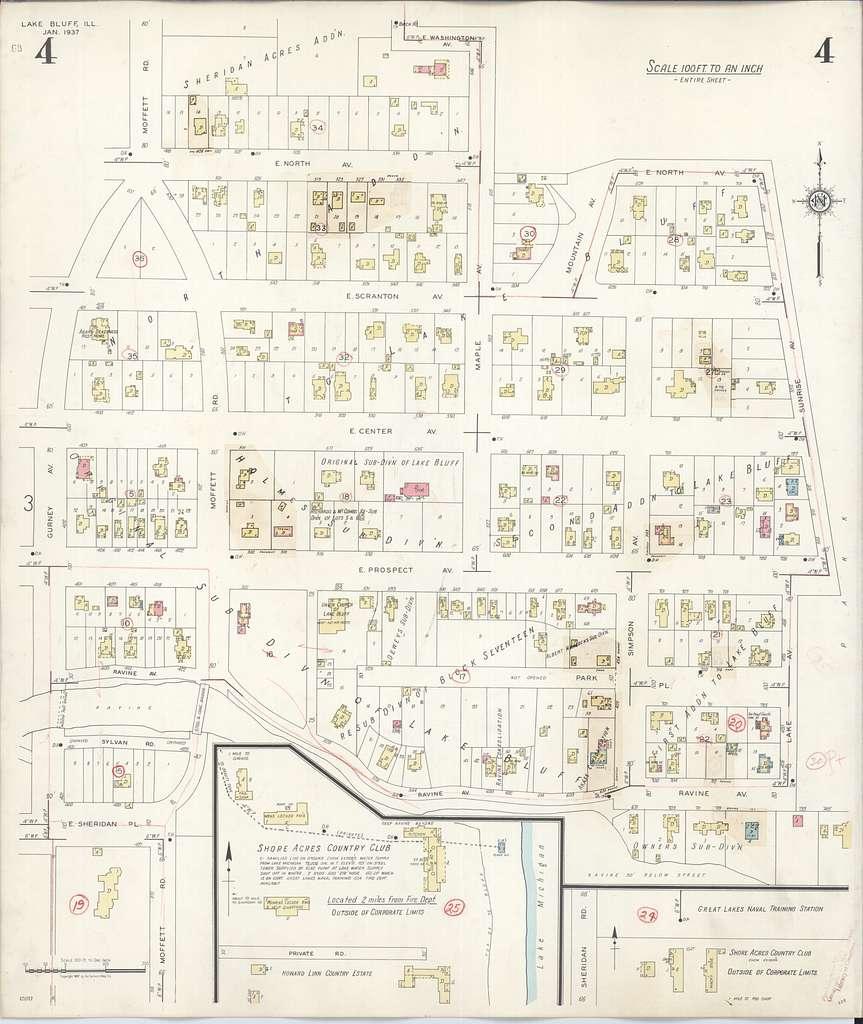 Sanborn Fire Insurance Map from Lake Bluff, Lake County, Illinois