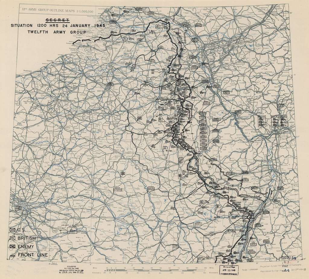 January 24, 1945, HQ Twelfth Army Group situation map