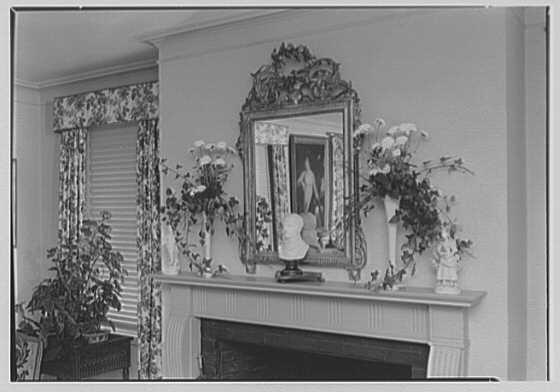 Maynard S. Bird, residence in Greenfield Hill, Fairfield, Connecticut. Living room mantel