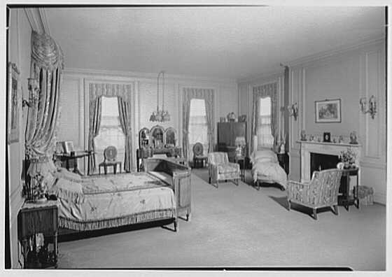 Howard C. Brokaw, residence in Brookville, Long Island, New York. Master bedroom