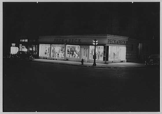 Peck & Peck, business at 792 Madison Ave., New York City. Night exterior I
