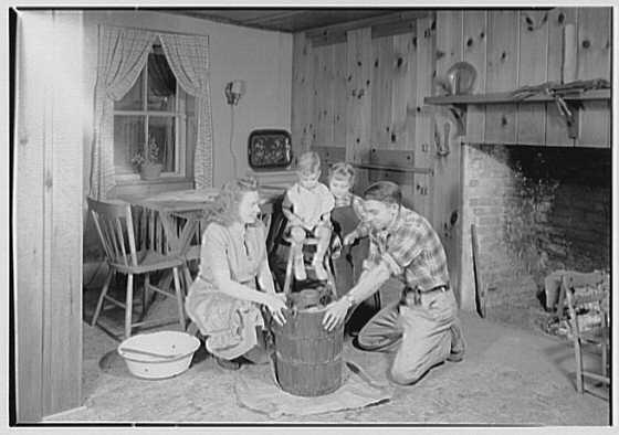 W.C. Wicks, residence on Route 1, East Stroudsburg, Pennsylvania. Making ice cream