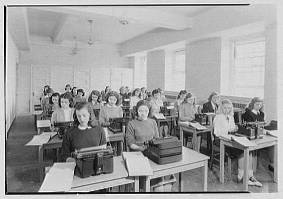 Marymount College, Gailhac Hall, Tarrytown, New York. Secretarial classroom