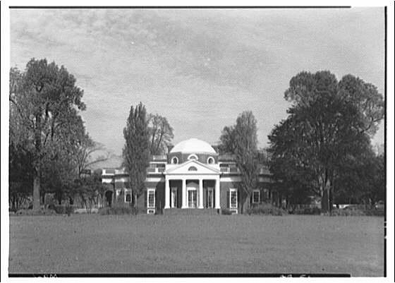 Monticello, Virginia. Front of Monticello from center III