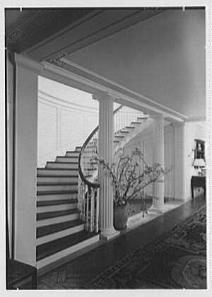 Mr. and Mrs. Edgar B. Stern, residence at 11 Garden Ln., New Orleans, Louisiana. Stairs, oblique, vertical from left