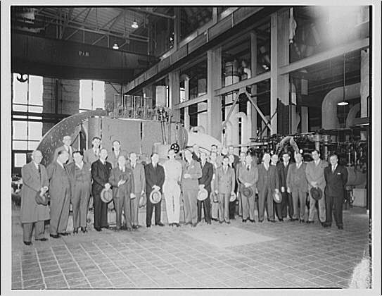 Potomac Electric Power Co. Benning plant. Group by new 50,000 watt generator at Benning plant