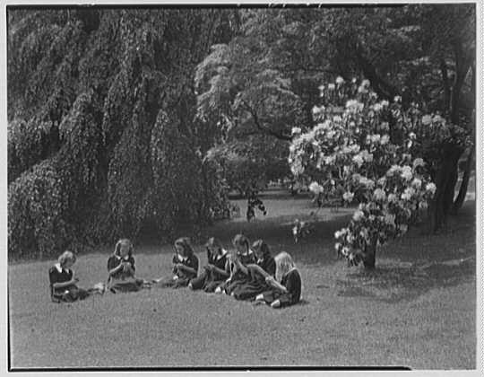 St. Vincent de Paul Institute, 261 S. Broadway, Tarrytown, New York. Girls crocheting