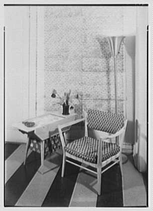 Elizabeth Draper, business at 785 Madison Ave., New York City. Norwegian furniture, sewing table