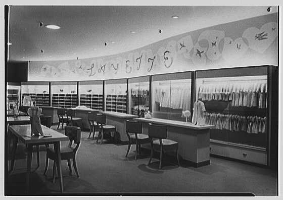 Lord & Taylor, business at Boston Post Rd. and Wilmot Rd., Scarsdale, New York. Layette department