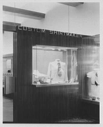 John Forsythe, business at 348 Madison Ave., New York City. Exterior, custom shirts detail