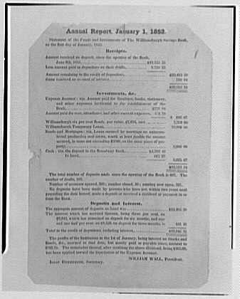 Williamsburg Savings Bank, Brooklyn, New York. Copy of first statement, 1852