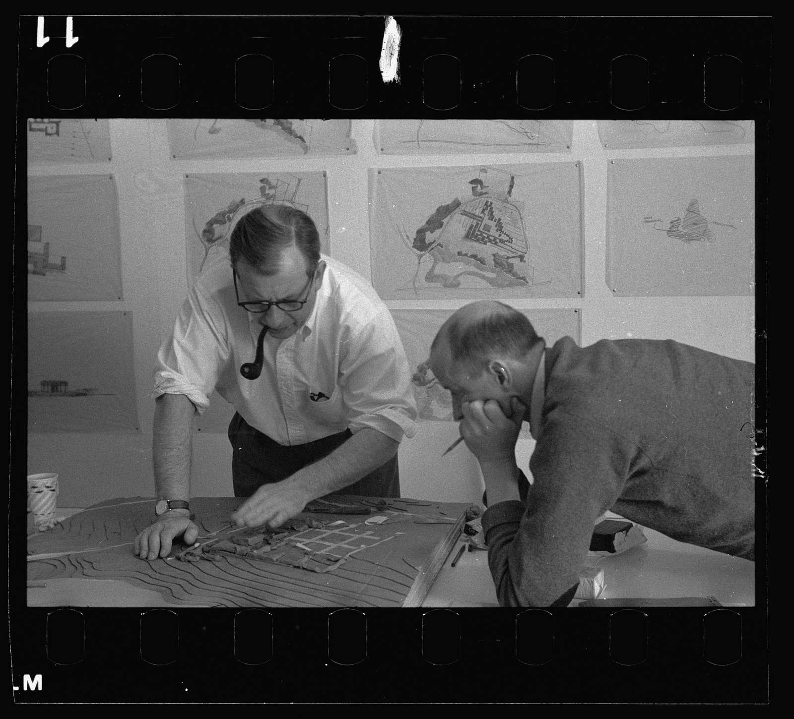 Saarinen office staff: Eero Saarinen (left) and Kevin Roche, Bloomfield Hills, Michigan