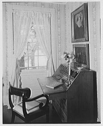 Elinor Merrell, residence in Cross River, New York. View through window