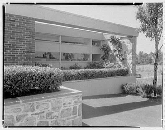 Fairchild Aircraft, Hagerstown, Maryland. Espalier in garden, planting in east facade