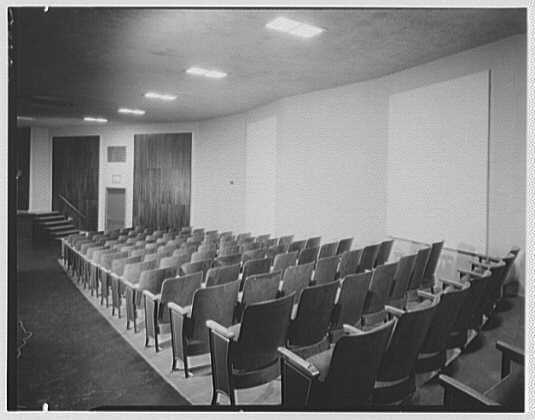Public School 220, Horace Harding Blvd., Forest Hills, Long Island. Auditorium to panels