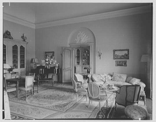 Mr. and Mrs. Diego Suarez, residence on Wheatley Rd., Brookville, Long Island. Living room, to library