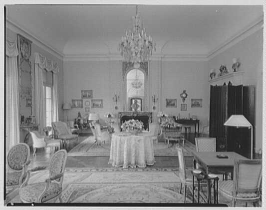 Mr. and Mrs. Diego Suarez, residence on Wheatley Rd., Brookville, Long Island. Living room, to fireplace