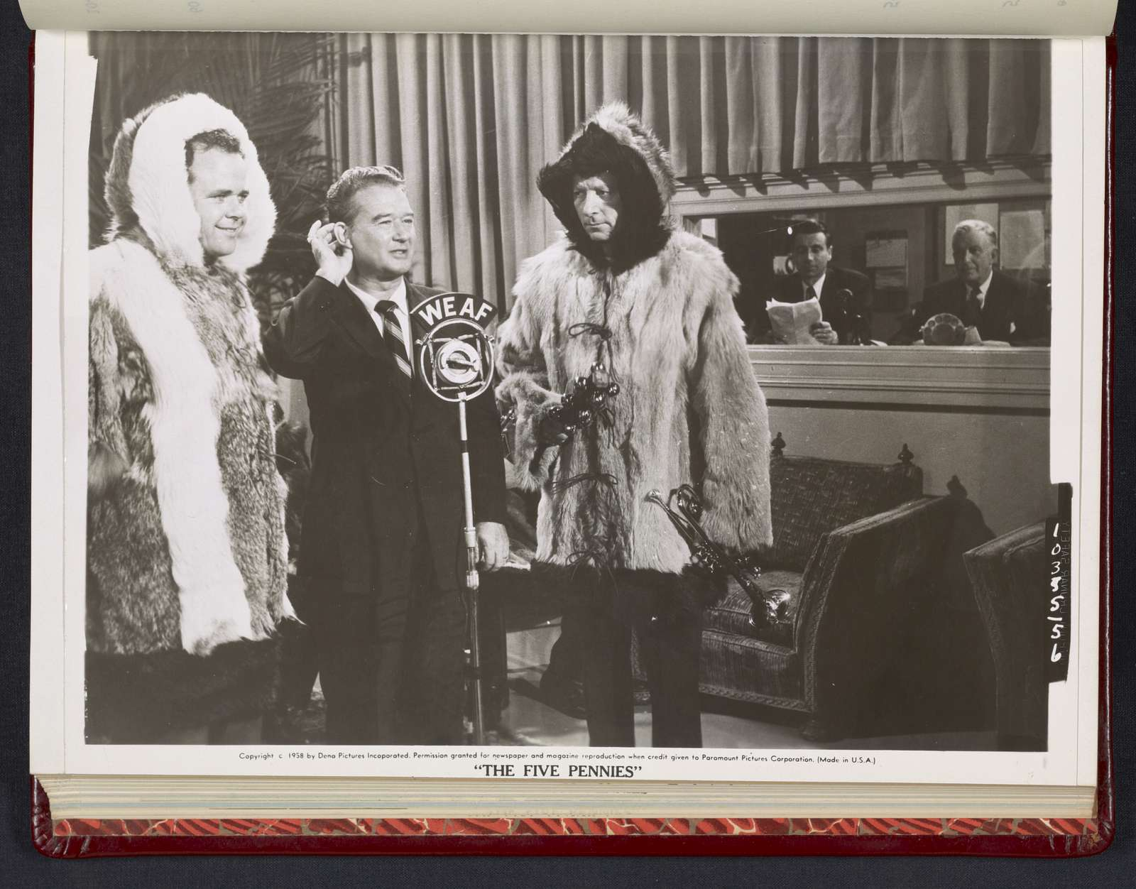 "Danny Kaye in fur coat at radio station - scene from ""The Five Pennies"""