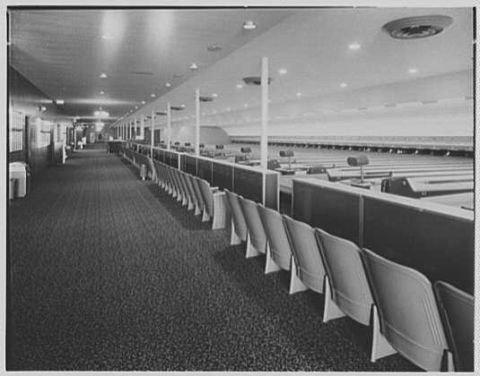 Century Bowling Alley, Wall St., Huntington, Long Island, New York. General view of alley