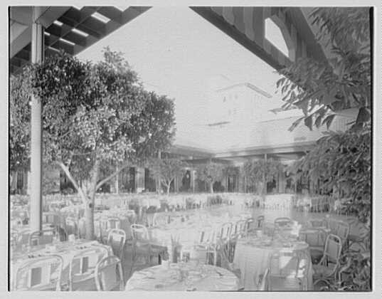 Everglades Club, Orange Room, Palm Beach, Florida. General cross view, showing canopy
