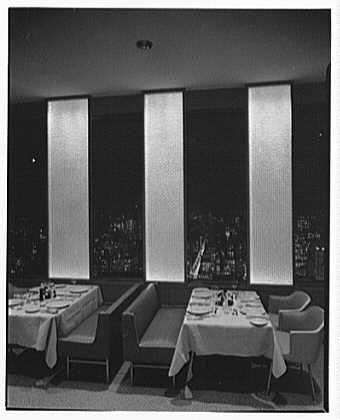 Hemisphere Club, Time-Life Building, Rockefeller Center. Panels and city, to south, from Gold room, 6 p.m