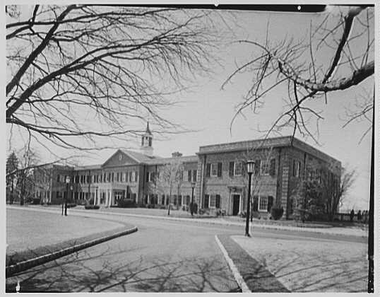 C.W. Post College, Brookville, Long Island. John C. Pell Hall, from right, to west