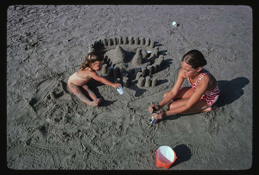 Building a sand castle, Canonchet Beach, Rhode Island