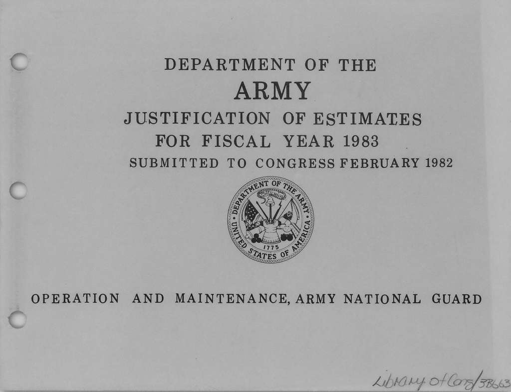 Department of the Army Justification of Estimates for Fiscal Year 1983, Operation and Maintenance, Army National Guard, Submitted to Congress February 1982