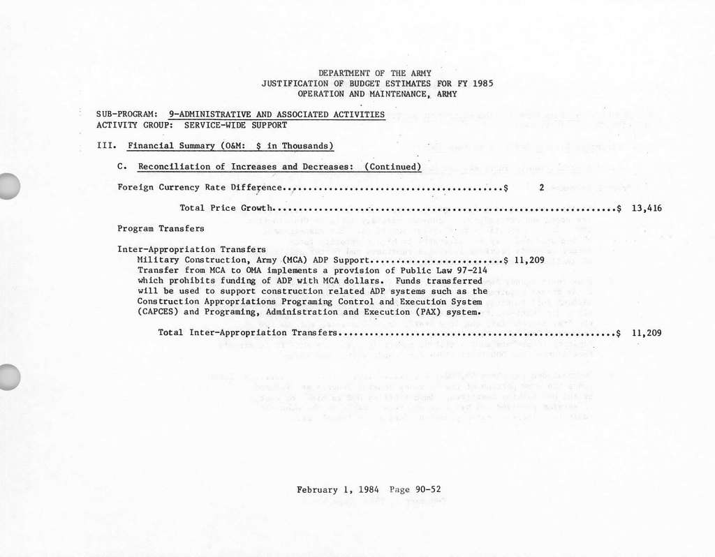 Department of the Army Justification of Estimates for Fiscal Year 1985, Operation and Maintenance, Army, Submitted to Congress January 1984