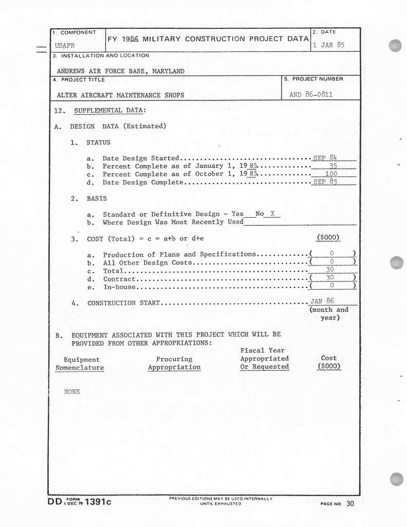 Department of Defense Air Force Reserve FY 1986 Military Construction Program, Justification Data Submitted to Congress