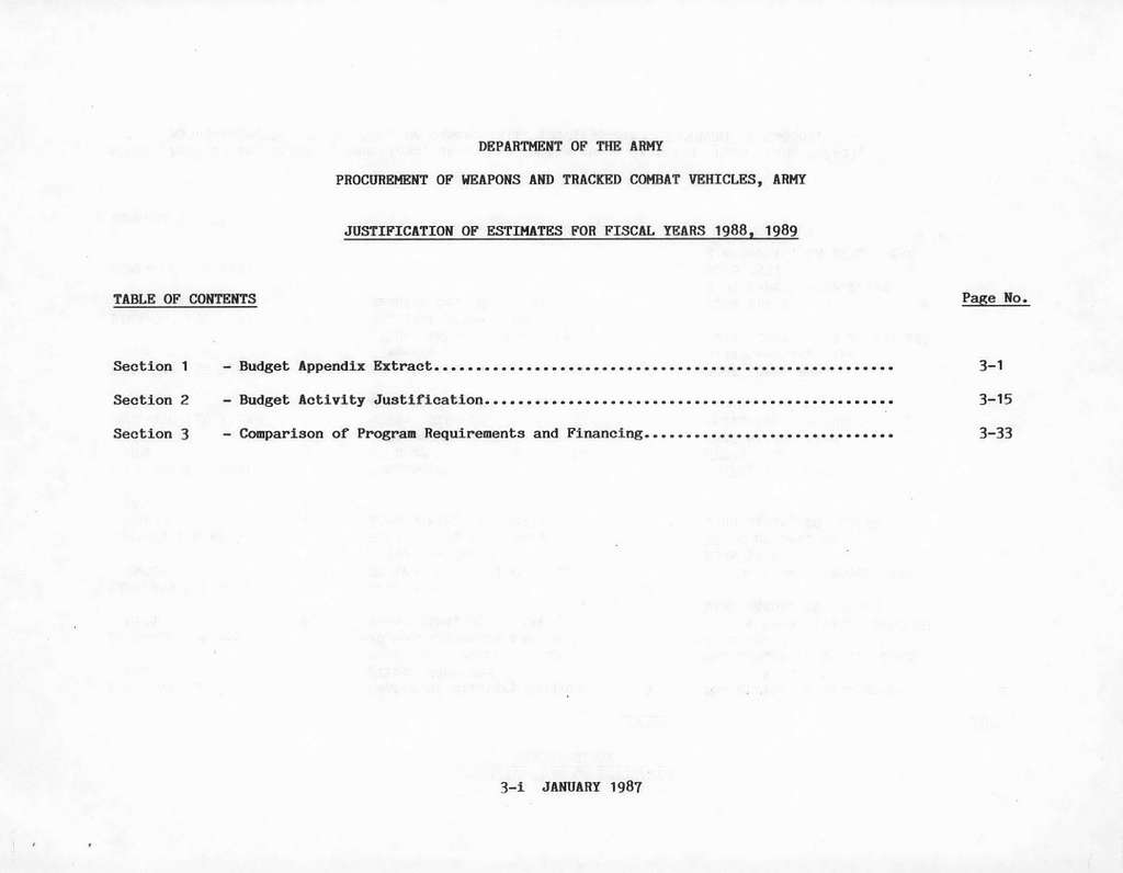 Department of the Army Justification of Estimates for Fiscal Years 19881989, Procurement of Weapons and Tracked Combat Vehicles, Submitted to Congress January 1987