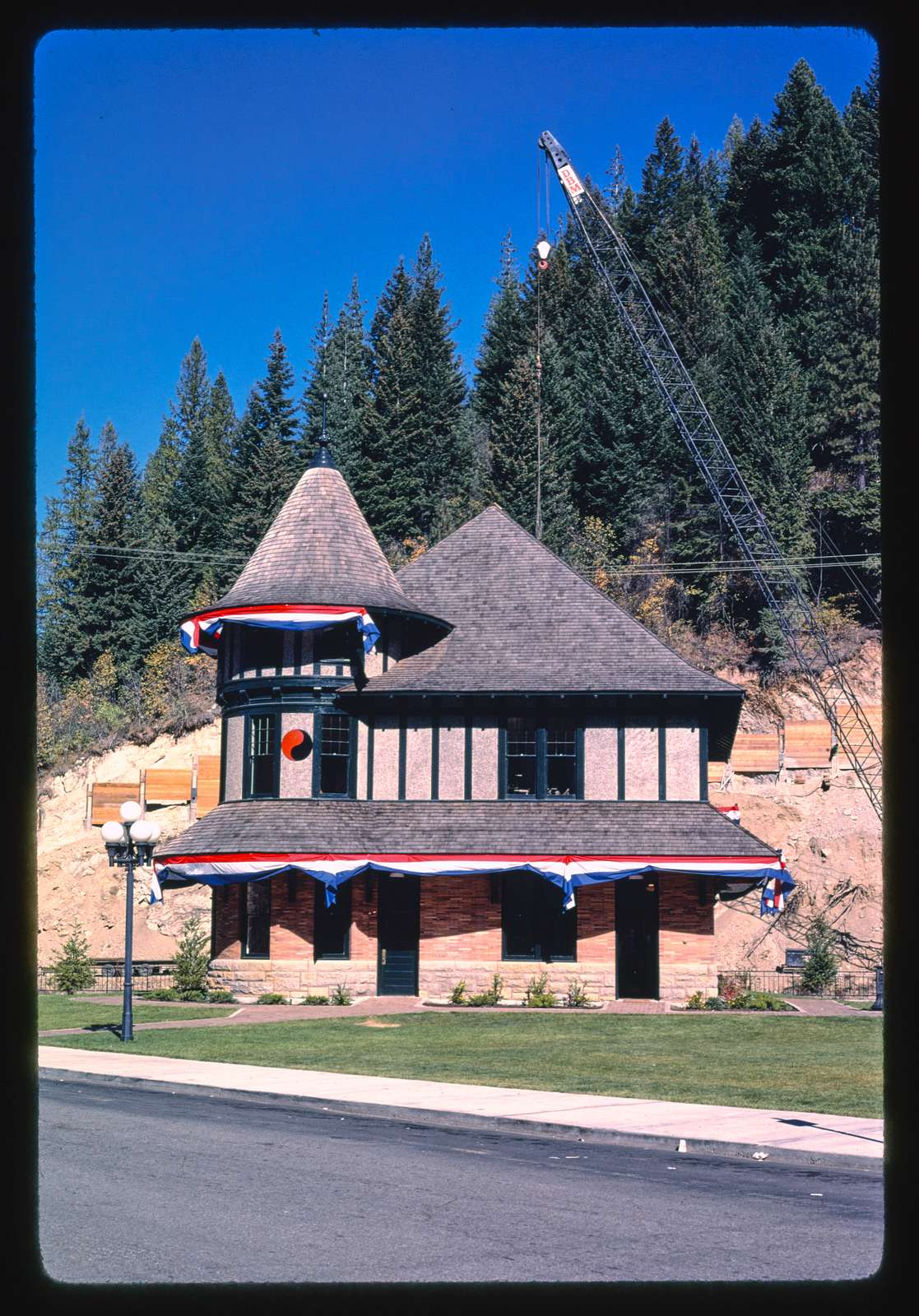 Railroad station (to be moved, highway construction), Wallace, Idaho