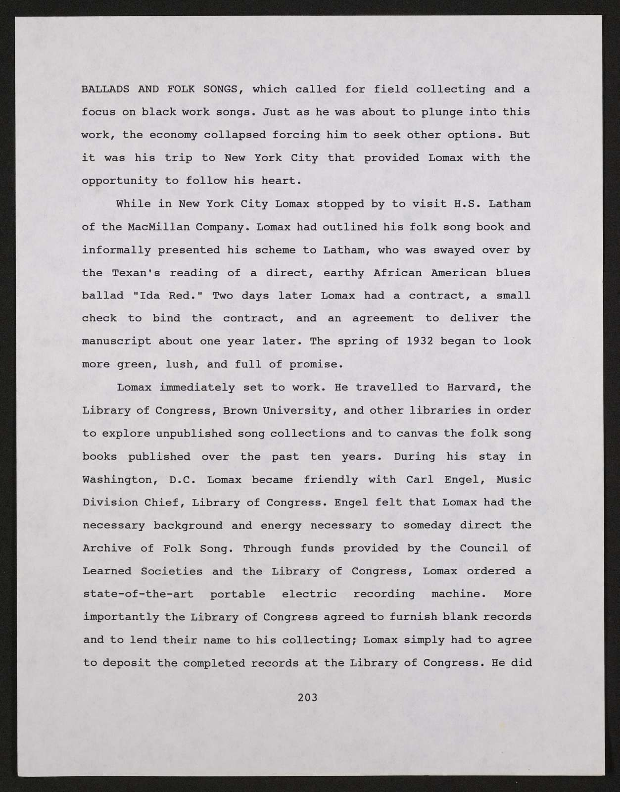 Alan Lomax Collection, Manuscripts, The Life and Legend of Leadbelly, 1992