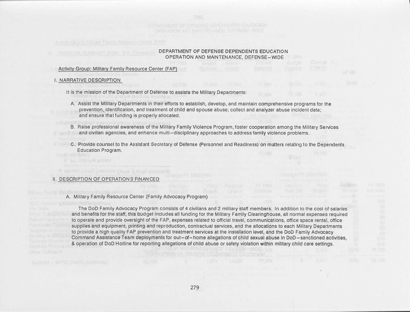 Office of the Secretary of Defense FY 1995 Budget Estimates Justification Data, Volume 1 - Operation and Maintenance, Defense-Wide Office of the Inspector General Court of Military Appeals, Defense Former Soviet Union Threat Reduction Summer Olympics World University Games World Cup U.S.A. 1994 Fede