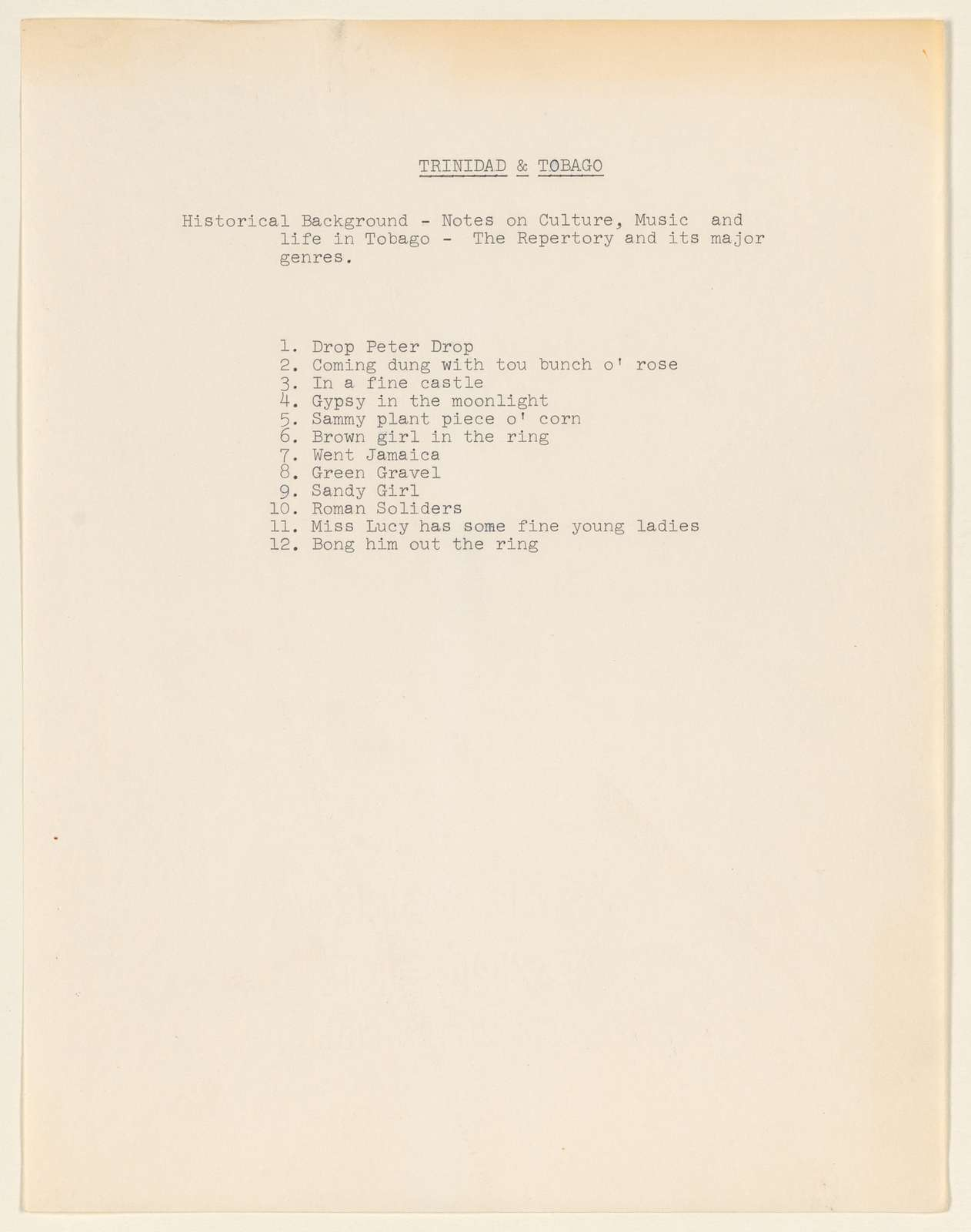 Alan Lomax Collection, Manuscripts, Brown Girl in the Ring, 1997