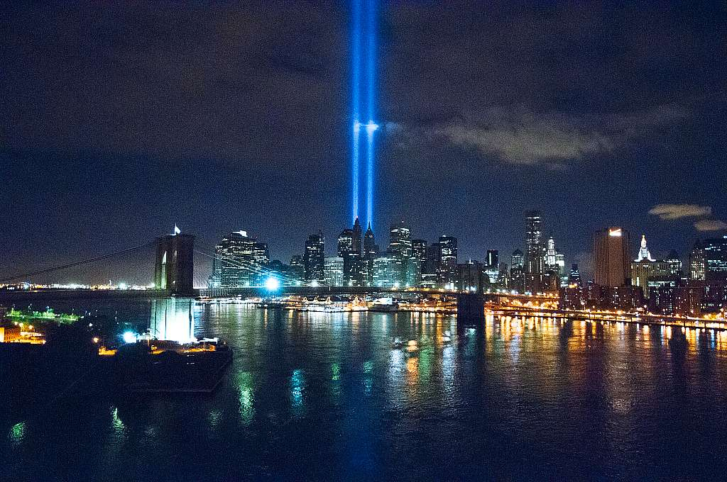 View of Lower Manhattan from the Manhattan Bridge, 2010. Taken at 3 a.m., this photograph shows the Tribute in Light, an art installation near the World Trade Center site commemorating the 911 attacks