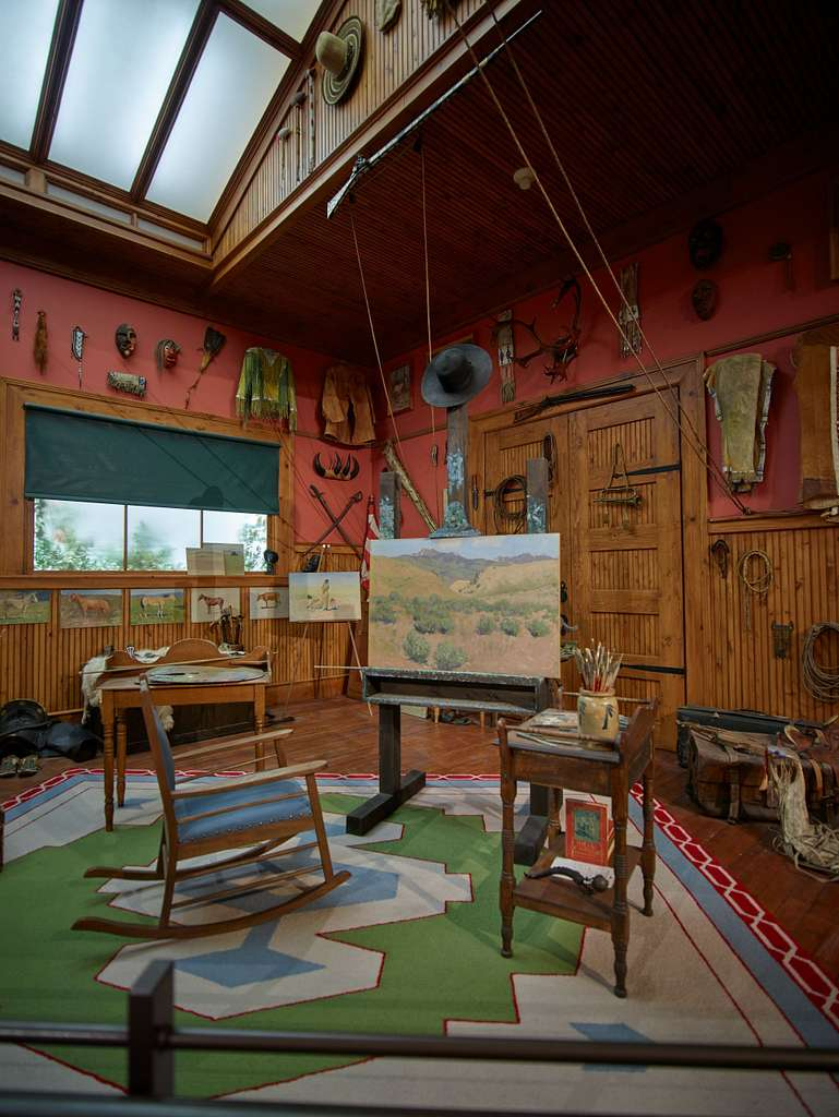 A reconstruction of artist Frederic Remington's studio at the Buffalo Bill Center of the West, a complex of five museums and a research library in Cody, Wyoming, featuring art and artifacts of the American West