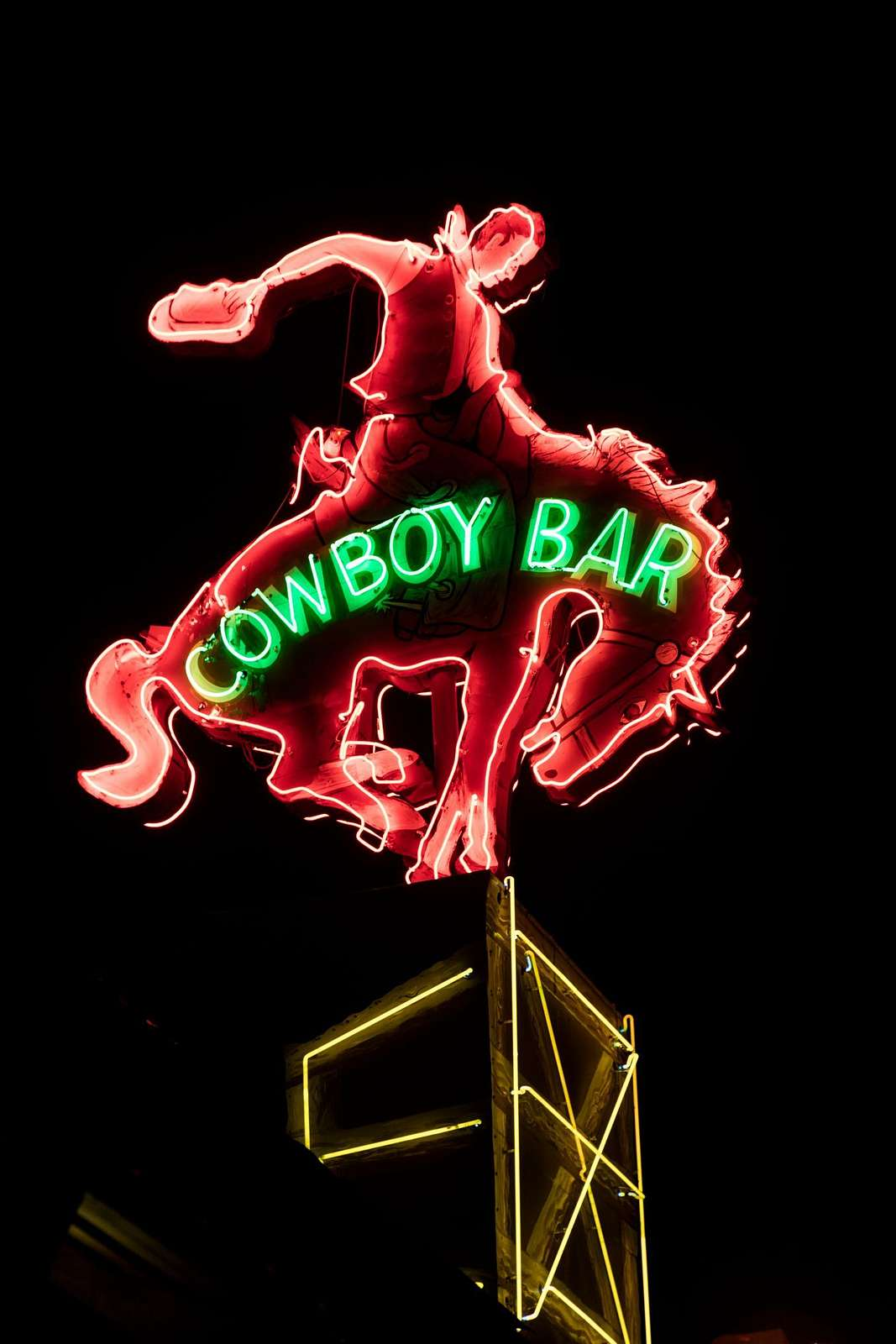 Neon sign of the Million Dollar Cowboy Bar in Jackson Hole, Wyoming
