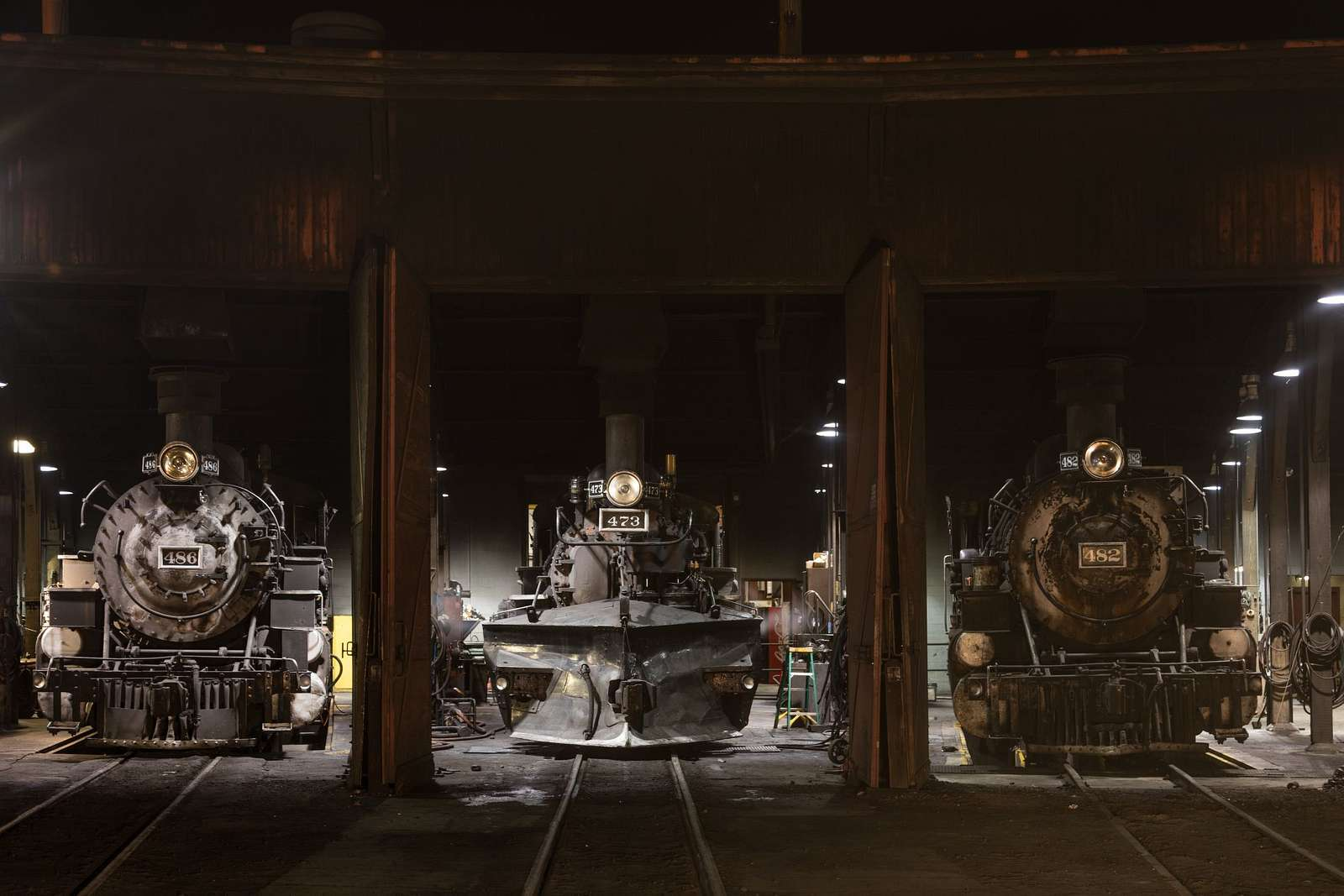 Steam locomotives in the roundhouse of the Durango & Silverton Narrow Gauge Scenic Railroad in Durango, Colorado