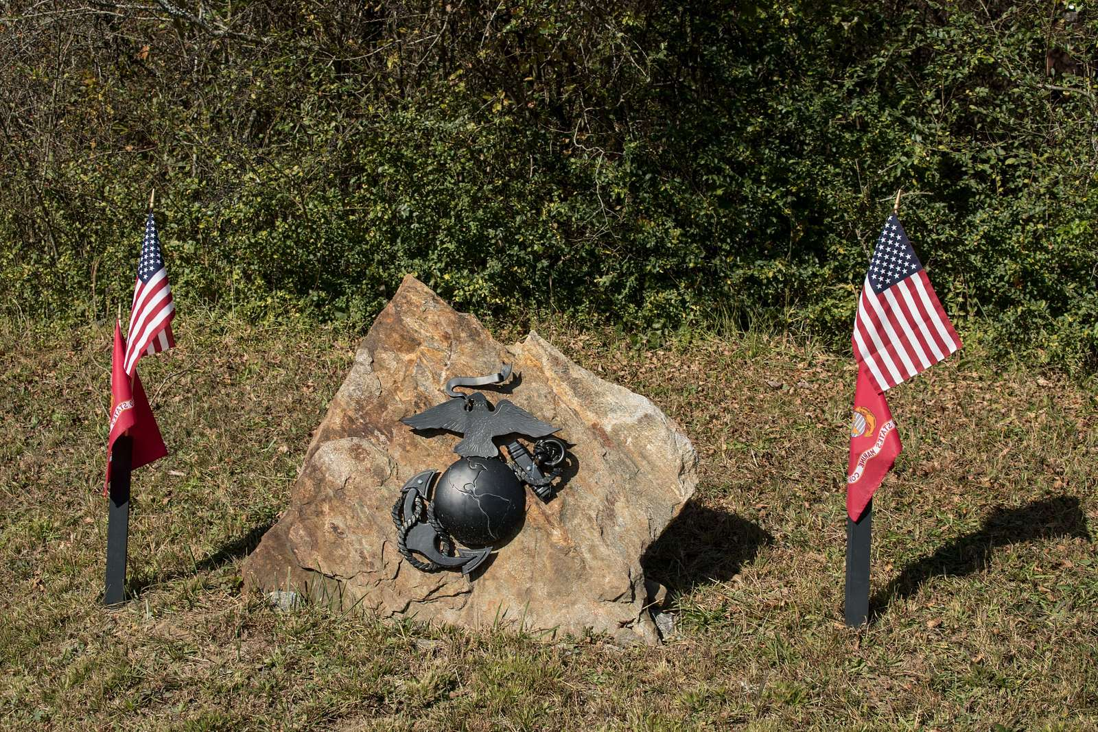 A roadside tribute, with no explanation given, to the United States Marine Corps, near Etowah, North Carolina