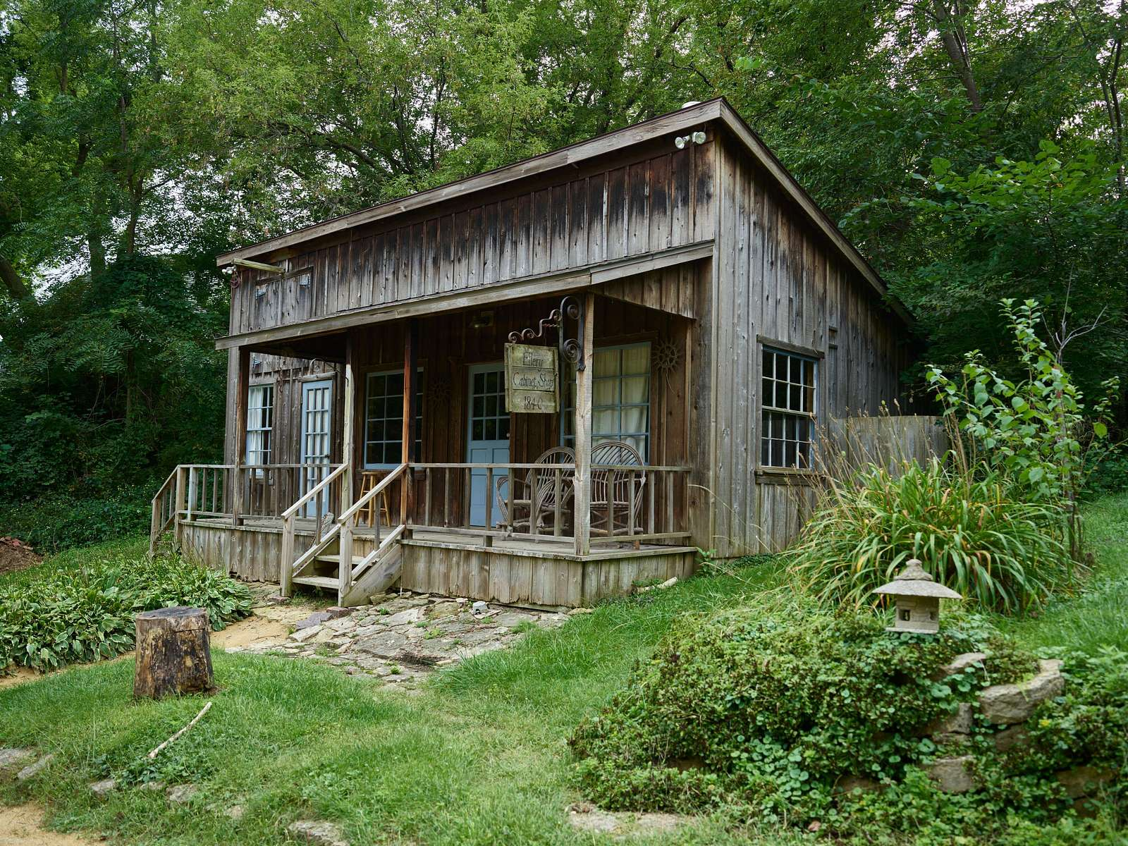 The 1840-vintage Ellery Cabinet Shop in the Shake Rag Alley artists' compound in Mineral Point, Wisconsin