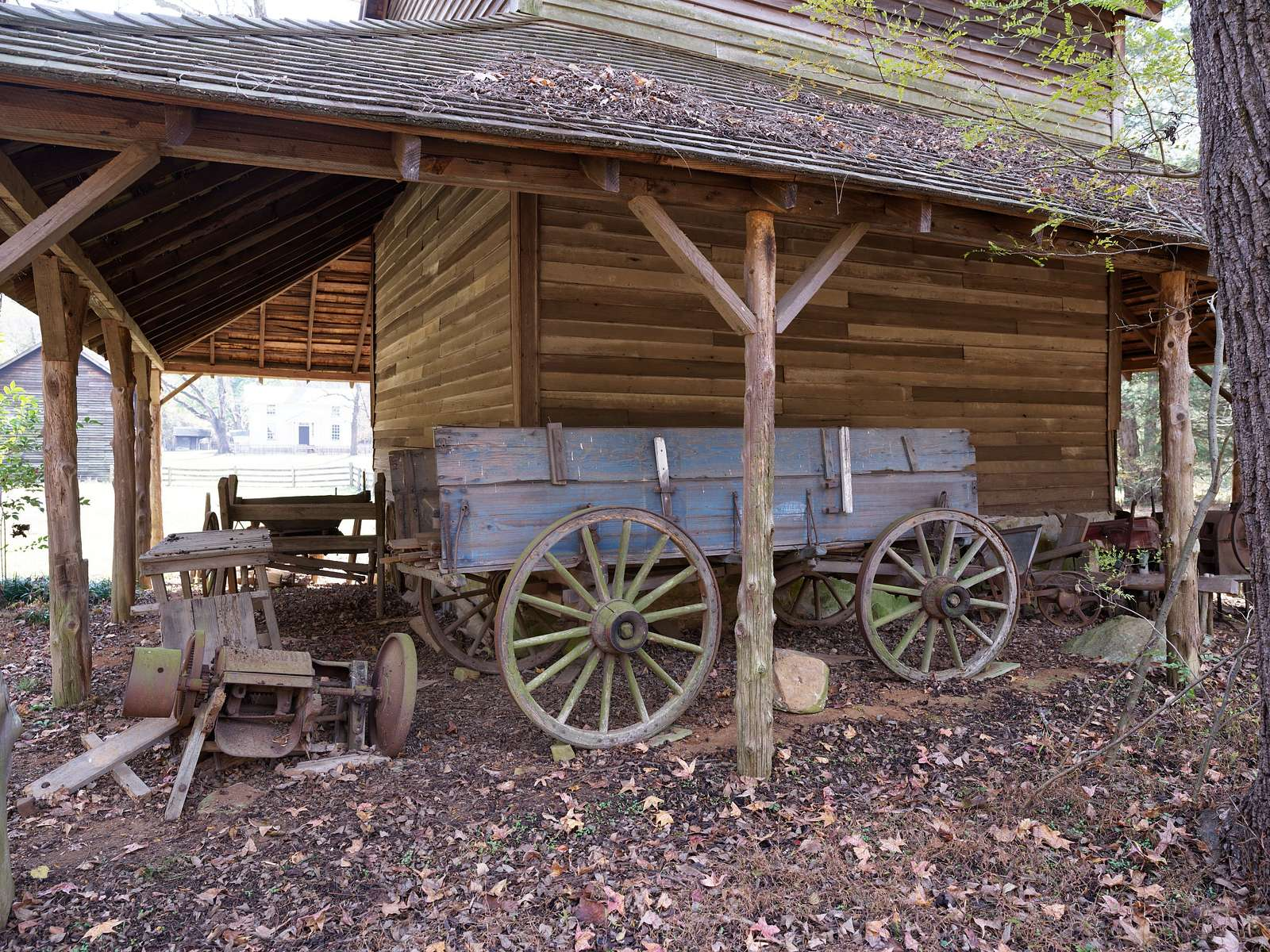 Tobacco barn at the Duke Homestead state historic site on the outskirts of Durham, North Carolina