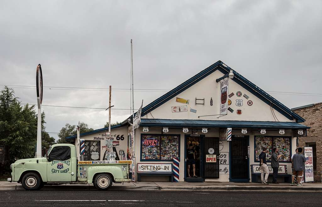 Cluttered gift shop in Seligman, along historic U.S. Route 66 in Arizona
