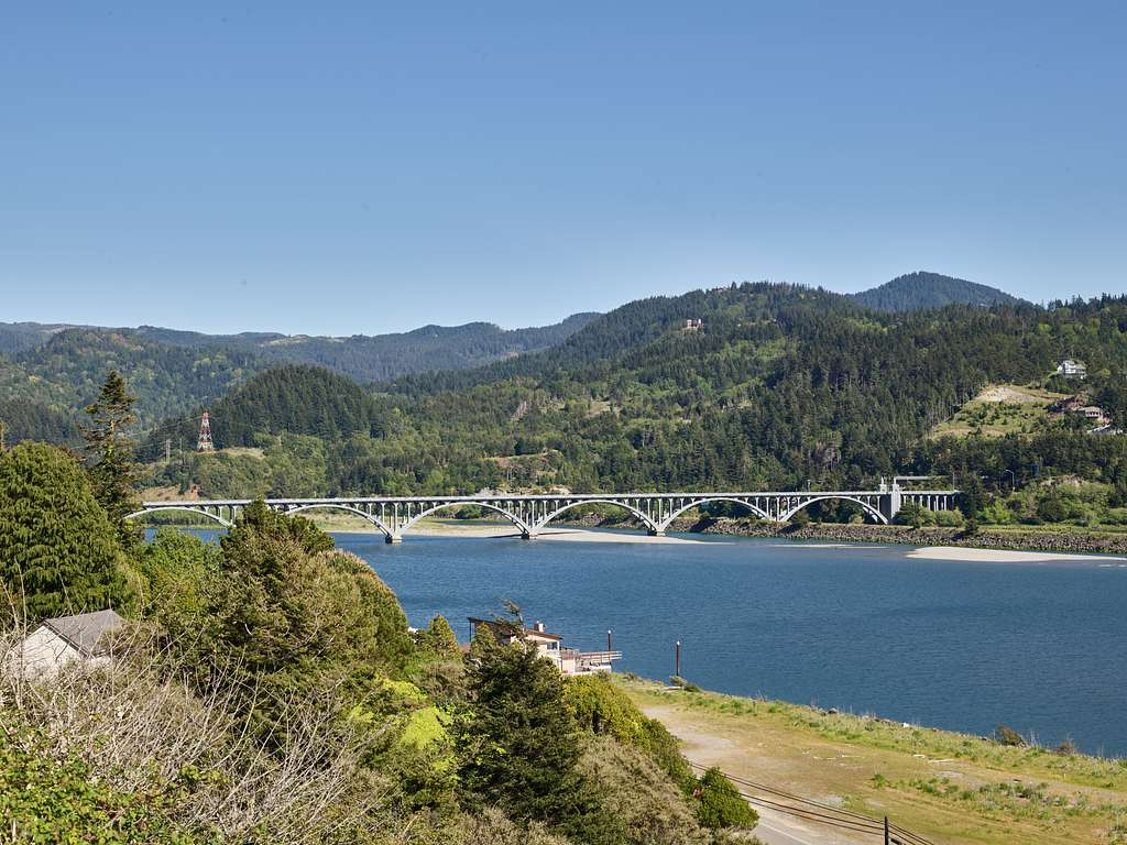 The Isaac Lee Patterson Bridge, also known as the Rogue River Bridge or the Wedderburn Bridge, is a concrete arch bridge, completed in 1932, that spans the Rogue River at Gold Beach, connecting to the town of Wedderburn, in Curry County, Oregon