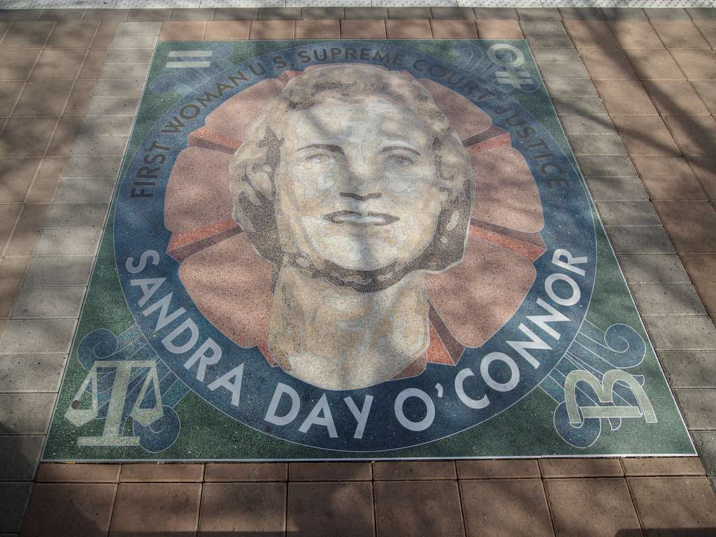 Art portraying the legendary U.S. Supreme Court Justice Sandra Day O'Connor, the first woman named to the nation's high court, on the sidewalk outside of the Maricopa County Courthouse in downtown Phoenix, Arizona