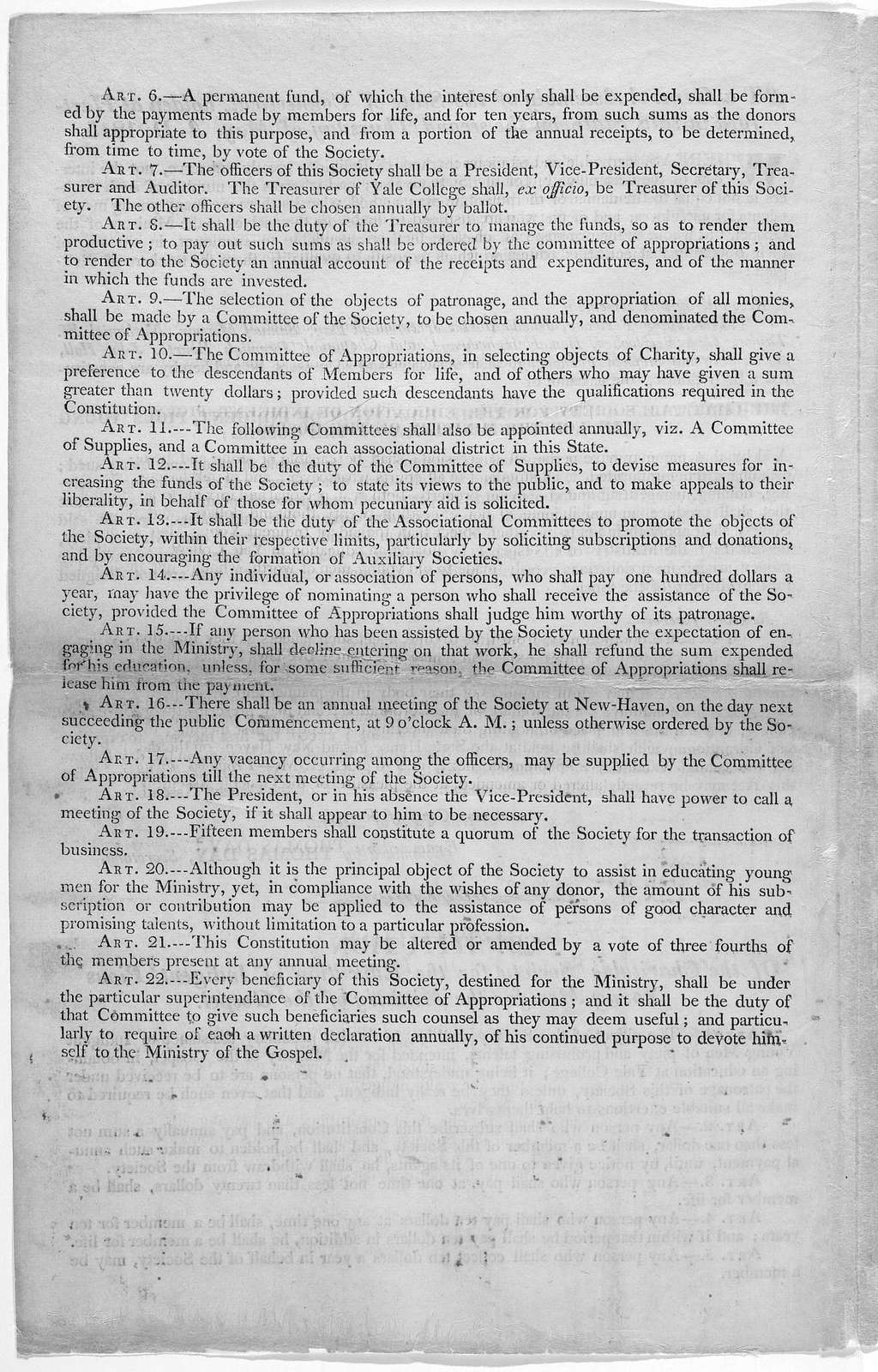 At a General Assembly of the State of Connecticut, holden at Hartford in said State, on the second Thursday of May A. D. 1815 [Regarding Charitable society for the education of indigent, pious young men, for the ministry of the gospel.]