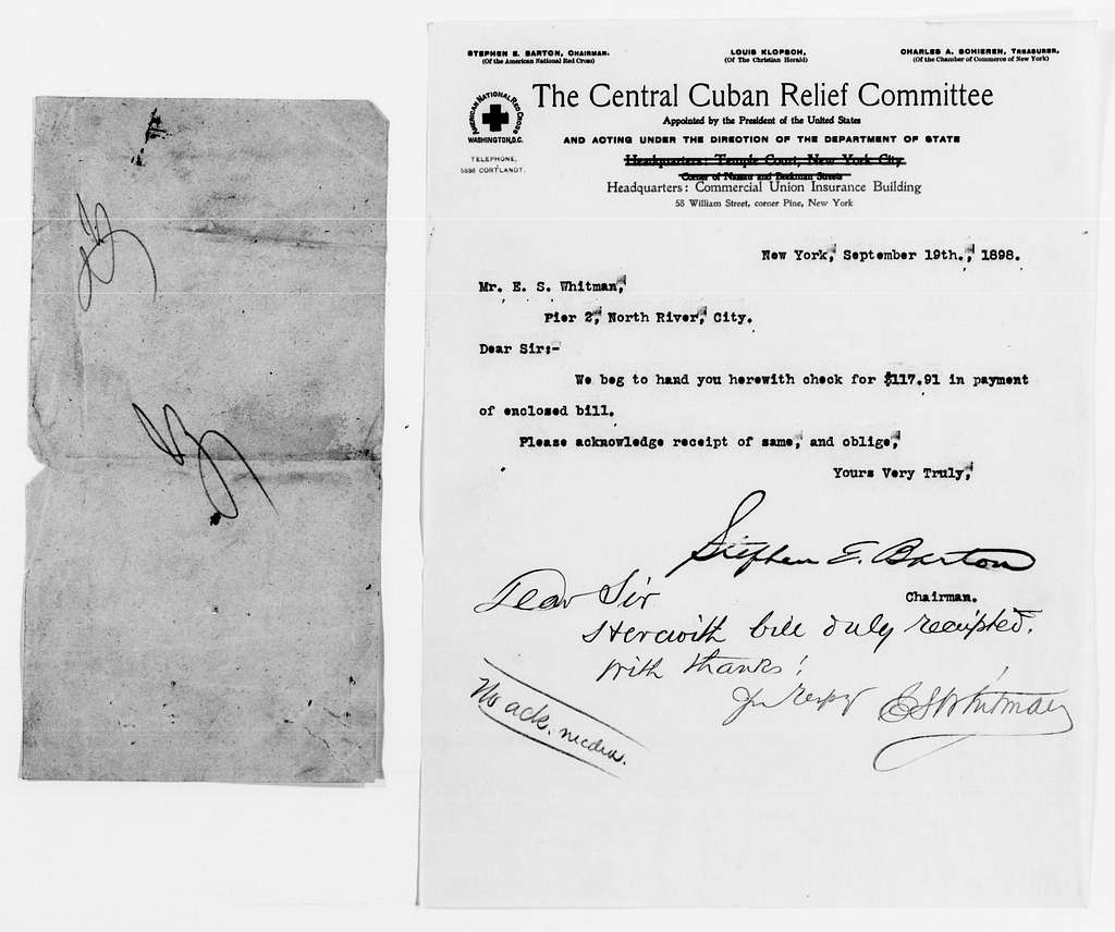 Clara Barton Papers: Red Cross File, 1863-1957; American National Red Cross, 1878-1957; Relief operations; Spanish-American War; Accounts and supplies; Whitman, E. S., 1898-1899