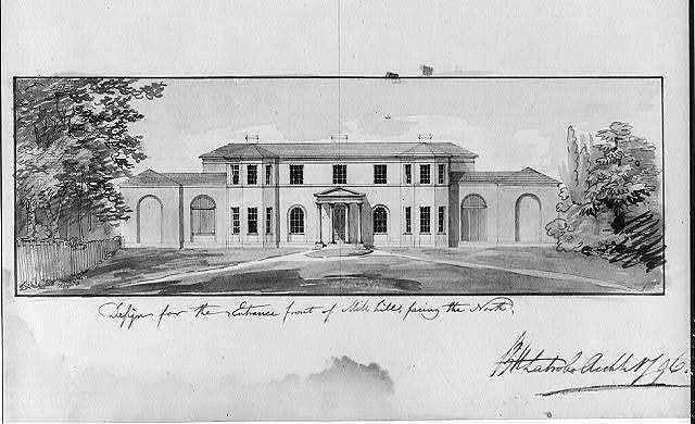"""[Houses and a church (""""Buildings Erected or Proposed to be Built in Virginia""""). Entrance, Mill Hill - elevation]"""