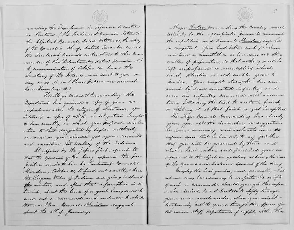 Philip Henry Sheridan Papers: Subject File, 1863-1891; Piegan expedition, 1869-1870; 5 of 5