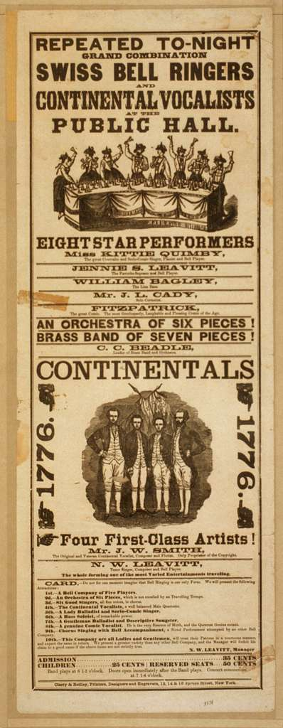 Repeated to-night grand combination Swiss bell ringers and Continental Vocalists at the public hall
